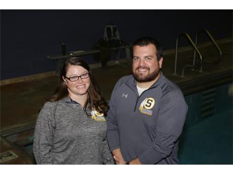 2017-18 Boys' Swim Coaches (L-R): Asst. Coach Jamie Ruiz, Head Coach Kyle Ruiz and absent Diving Coach Mary Sue LeMay