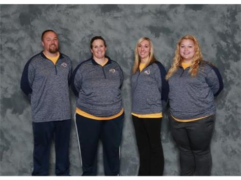 2018 Softball Coaches (L-R): Eric Staples, Becki Edmondson, Haley Farringer, Logan Skeel