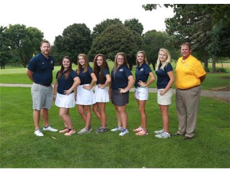 2018 Varsity Girls Golf Front Row (L-R): Coach Weston Henry, Abby Sheets, Libbi Kendrick, Maddy Pink, Olivia Schwingle, Averi Heintzelman, Julia Hoffman, Coach Nick Hubbard