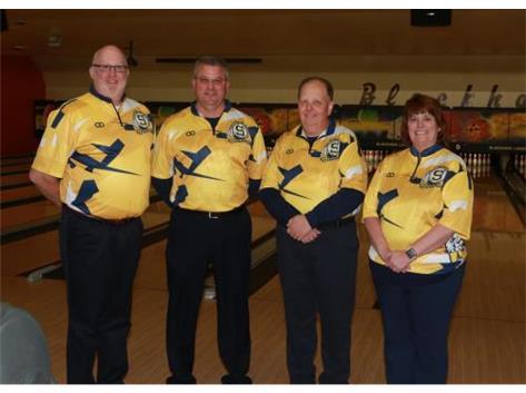 2019-20 Boys Bowling Coaching Staff (L-R): Asst Coach Tim Schlegel, Asst Coach Dave Glazier, Head Coach Loren Wolf, Asst Coach Tracey Sivits