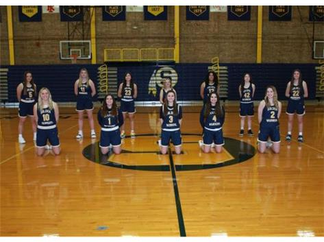 2020-21 Varsity Girls Basketball Front Row (L-R): Brooklyn Borum, Rianna Duran, Hailey Walters, Nakiya Rascon, Breelyn Borum 2nd Row (L-R): Aubri Menchaca, Kate Rowzee, Baylee Adami, Lilli Manon, Olivia Turner, Addie McCombs, Kaydence Weeks