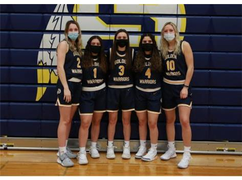 2020-21 Varsity Girls Basketball Seniors (L-R): Breelyn Borum, Rianna Duran, Hailey Walters, Nakiya Rascon, Brooklyn Borum