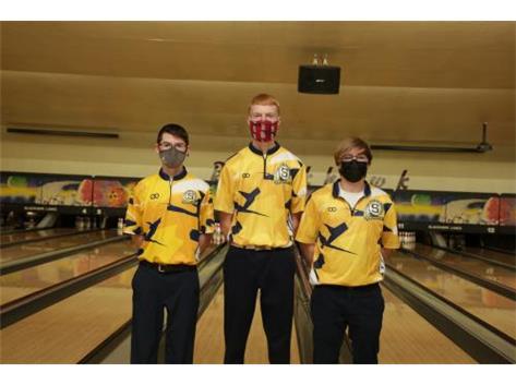2020-21 Boys Bowling Captains (L-R): Jordan Glazier, Carter Schlegel, Josh Olson