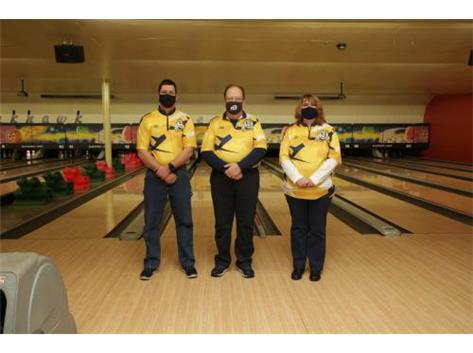 2020-21 Girls Bowling Coaches (L-R): Asst Coach Phil Conderman, Head Coach Loren Wolf, Asst Coach Tracey Sivits