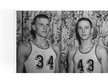 Ron Bontempts and Johnny Orr pictured in their uniforms in 1944.  They led the Tornadoes to the State Championship and a perfect 45-0 record.