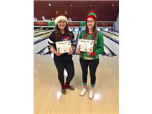 our two winners for the ugliest xmas sweater, fresh, Caitlyn Wirkiowski and senior, Arianna Castellan