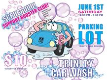 Come get your car washed Saturday, June 1st - 12PM-3PM  Location: Trinity Parking Lot  Suggestion Donation: $10  Come support your spring sports and get your car washed!!