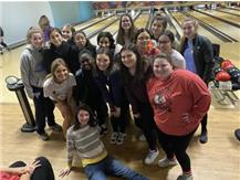 Track team comes and supports bowling seniors!