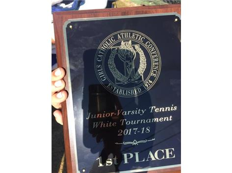 Congrats to our JV Tennis team taking 1st place in the GCAC white division!
