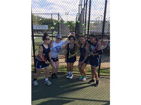 Senior Day for Tennis! Seniors: Sara LaMantia, Molly Healy, Katia Gamero, Sasha Martin, Abigail Schombert
