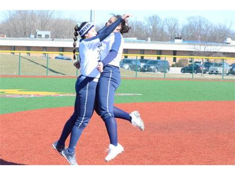 Pitchers do it best! Sammie Nelson & 	Ileana Fierro congratulating each other over the W vs. Lane!