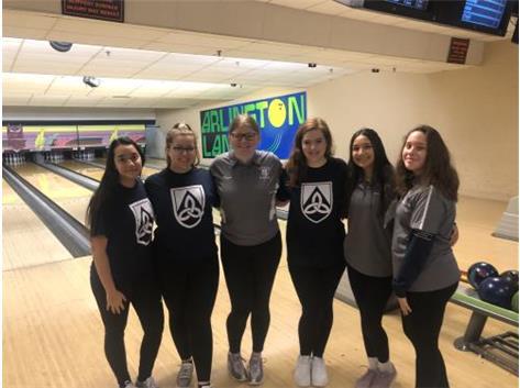 JV Bowling before their match! Alyssa, Annalyse, Becky, GIanna, Cyanne, Bella