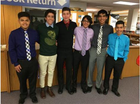 2014 Seniors Robert Bajarano, Antonio Velazquez, Jesus Fernandez, Oswaldo Estrada, Manny Perez, and Angel Santana