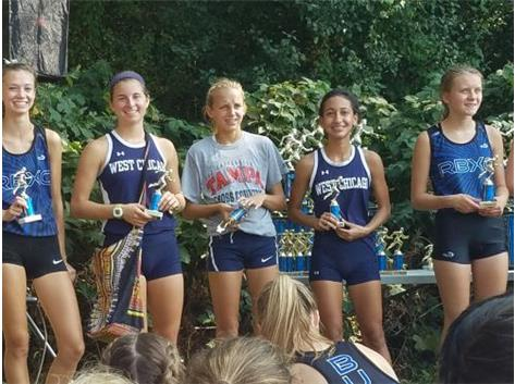 Maddie finished 4th and Lily finished 6th in the varsity race at the HCA invite.
