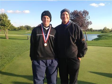 Senior Conner Rejman and Coach John Wedell at the IHSA Class 1A Golf Tournament in Bloomington. Congratulations to Conner for placing 10th out of 112 golfers and being selected to the ALL STATE TEAM!