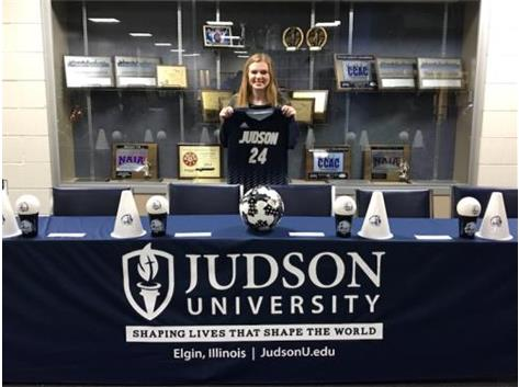Congratulations to senior Johannah Siers! Johannah has signed a letter of intent to play soccer at Judson University. Johannah will play forward or midfield for the Eagles.