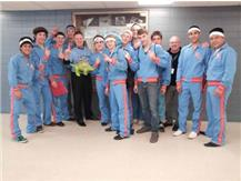 The Varsity Wrestling Team wearing their throwback warm-ups from 1970's to celebrate their Conference Championship!!