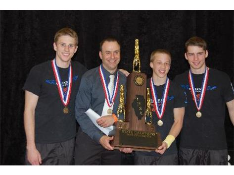 Danny Heller, Coach Gebhardt, Ethan Sansone and David MacDonald holding the state trophy