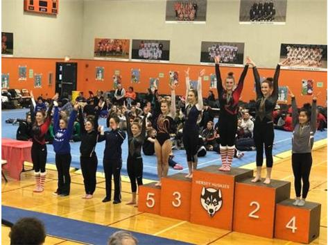Jessica Dryden takes 8th on the vault with a 9.05 at the Hersey Candy Cane Invite
