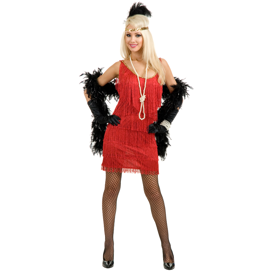 Fashion Flapper (Red) Adult Plus Costume - Punchbowl