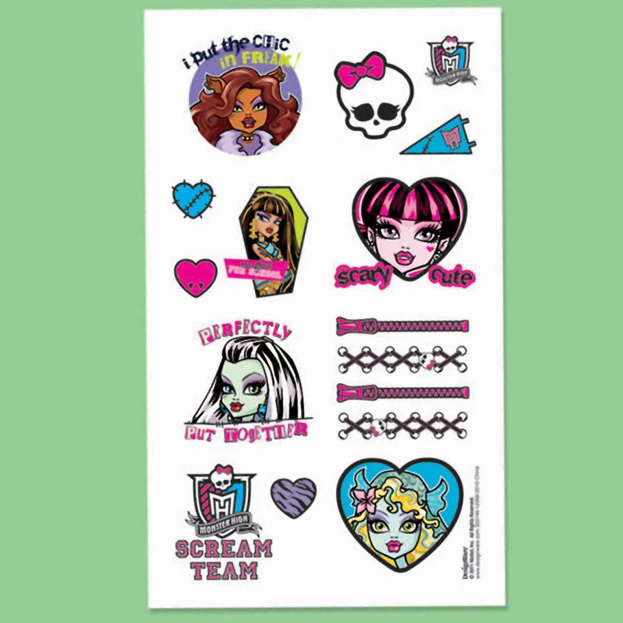 Monster High Tattoo Sheet