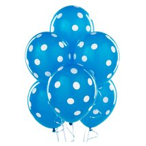 Robin's Egg Blue with White Polka Dots Latex Balloons (6)