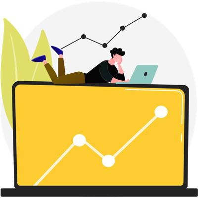 Imagem de uma ilustração digital com uma pessoa deitada em cima de um computador que exibe um gráfico de linhas na tela.