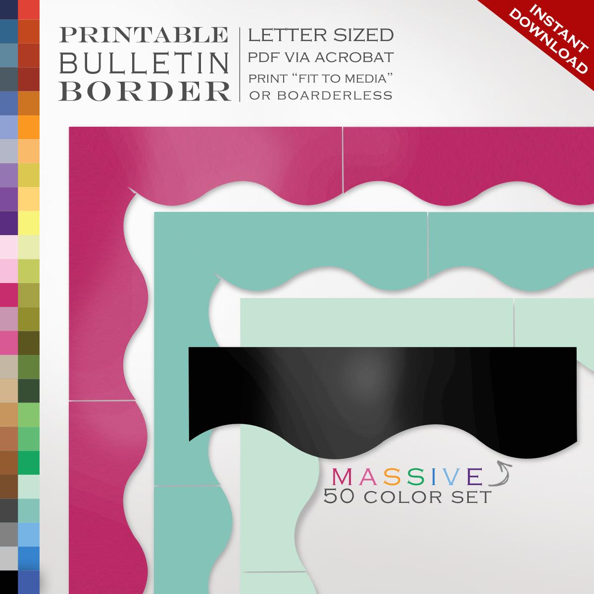 50 Piece Classroom Bulletin Board Trim - 50 Printable Single Color ...