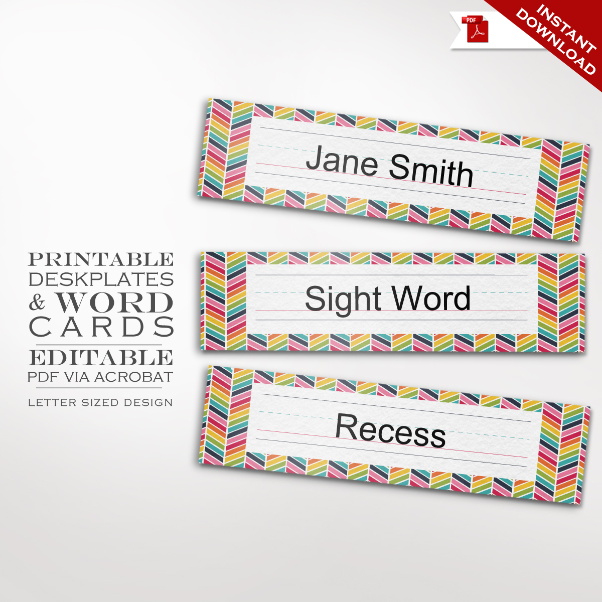 graphic regarding Printable Word Wall Cards With Pictures named Clroom Rainbow Chevron Nameplate - Deskplate Phrase partitions Playing cards Faire.li