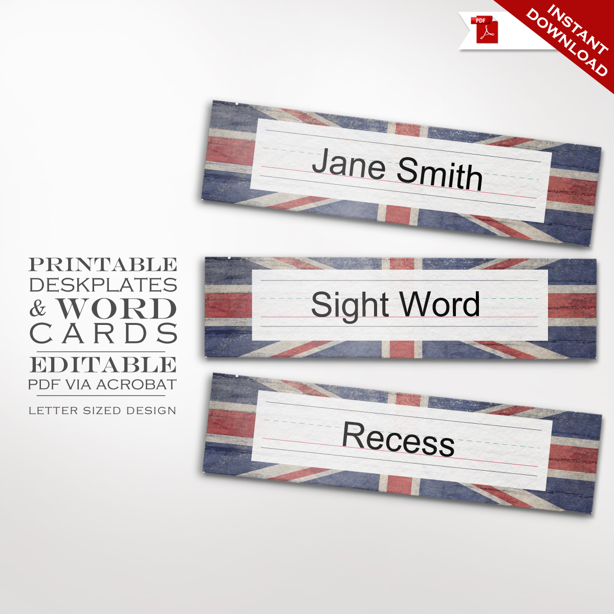 photo regarding Printable Word Wall Cards With Pictures known as Clroom Union Jack Nameplate - Deskplate Phrase partitions Playing cards Faire.li