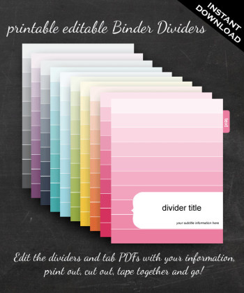 photograph regarding Printable Dividers for Binders known as Binder Dividers - Printable Editable Rainbow Mod Sq.