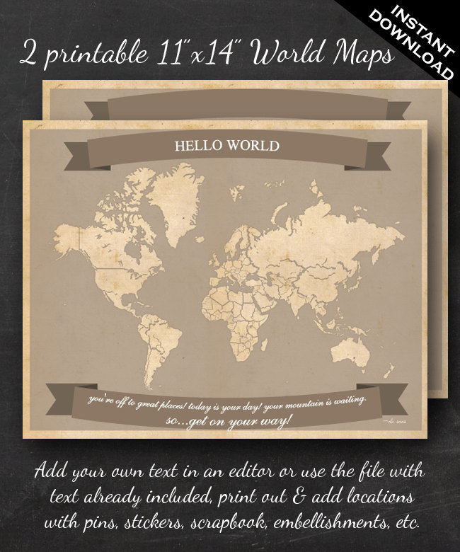 Frameable World Map.World Travel Maps 11 X14 Wall Art 2 Pack Faire Li