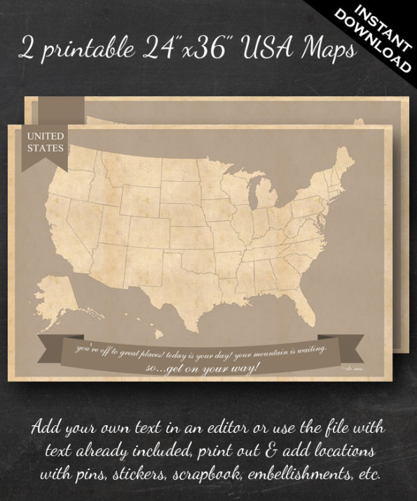 United States Travel Maps – 24″x36″ US Wall Art – 2 pack