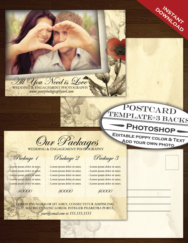Postcard Template PSD Photography Marketing Template Vintage - Photography postcard template