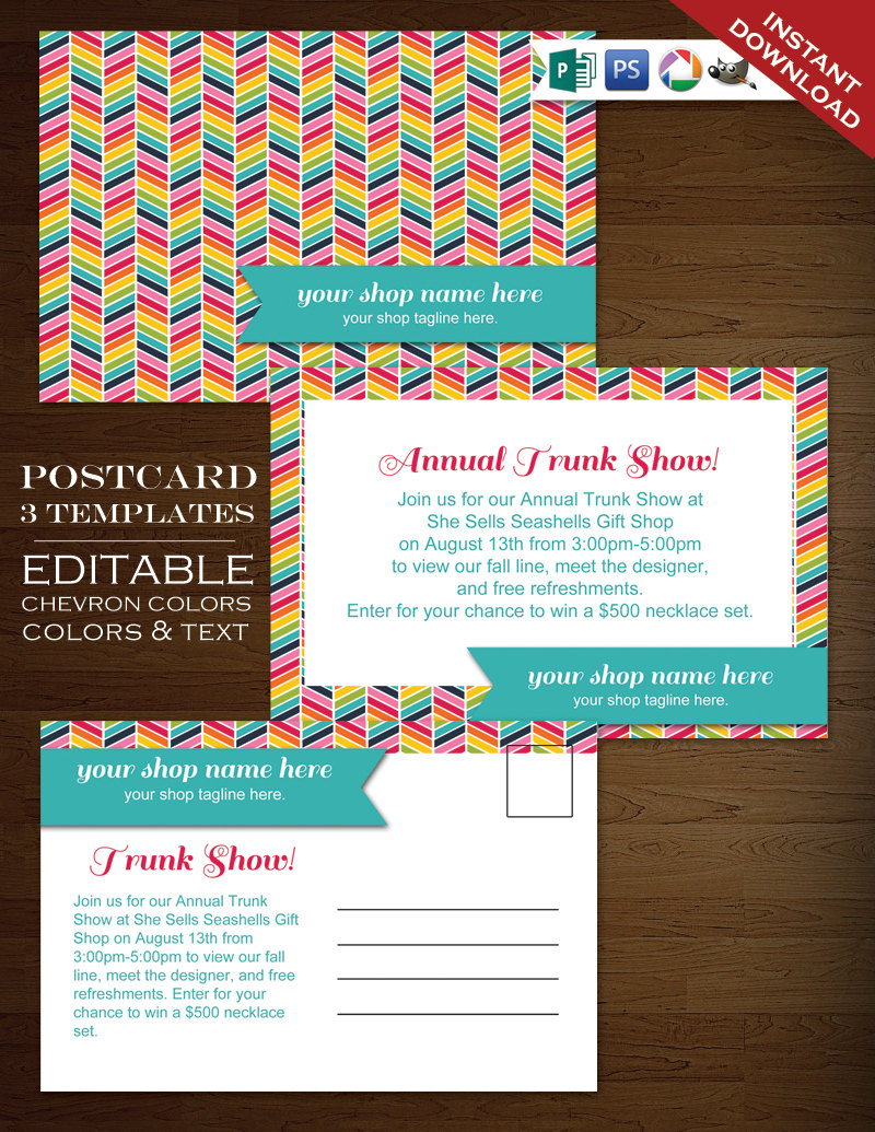 postcard template rainbow chevron flyer template rbc psd rainbow postcard announcement flyer. Black Bedroom Furniture Sets. Home Design Ideas