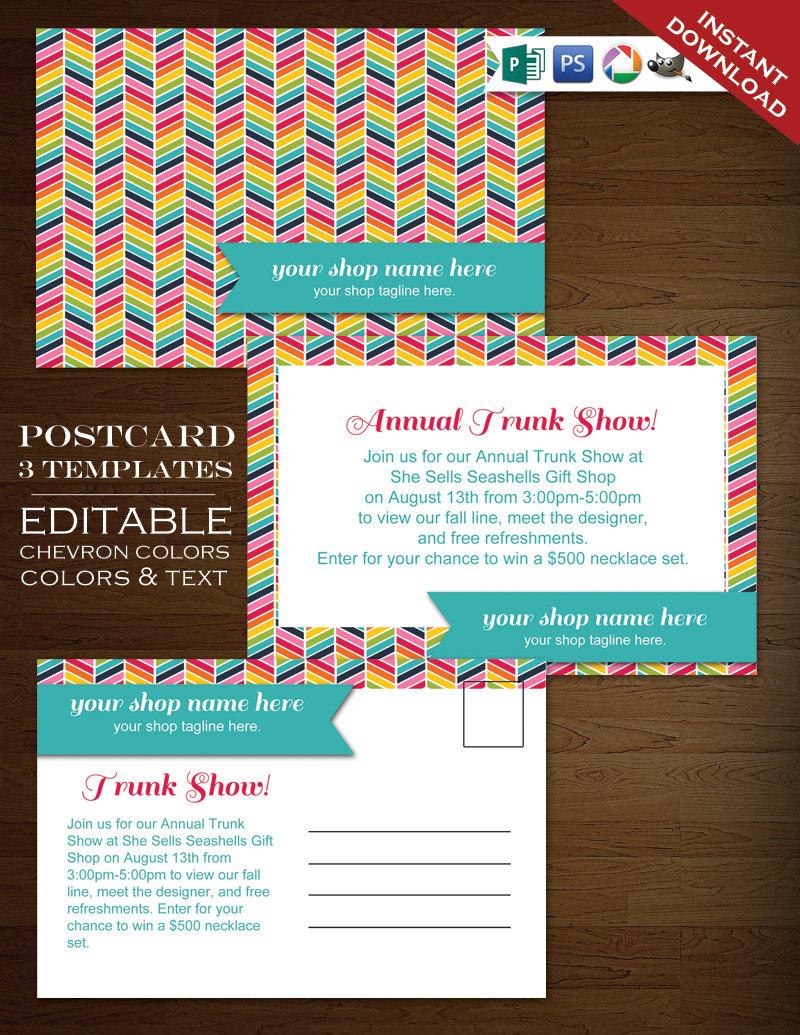 Postcard Template Rainbow Chevron Flyer Template Rbc PSD Rainbow - Postcard flyer template