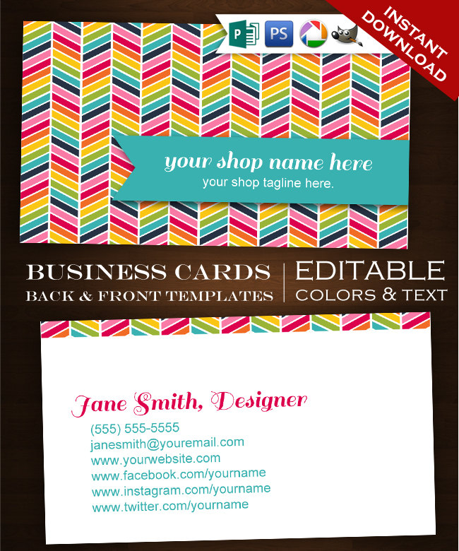 Premade Chevron Business Cards - Customizable Rainbow Design ...