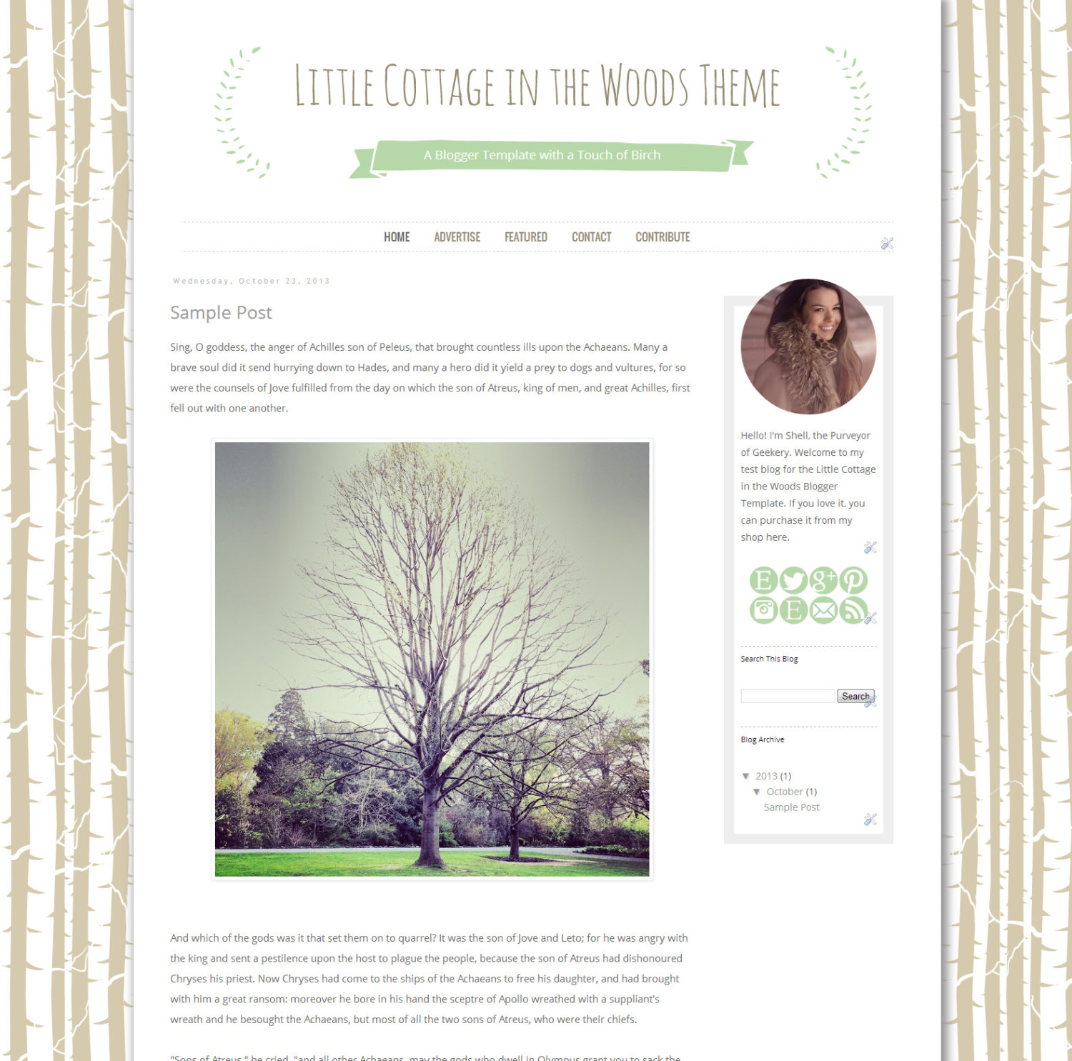 Cottage in the Woods Blogger Template - Birch Woodlands Blogger Blog ...