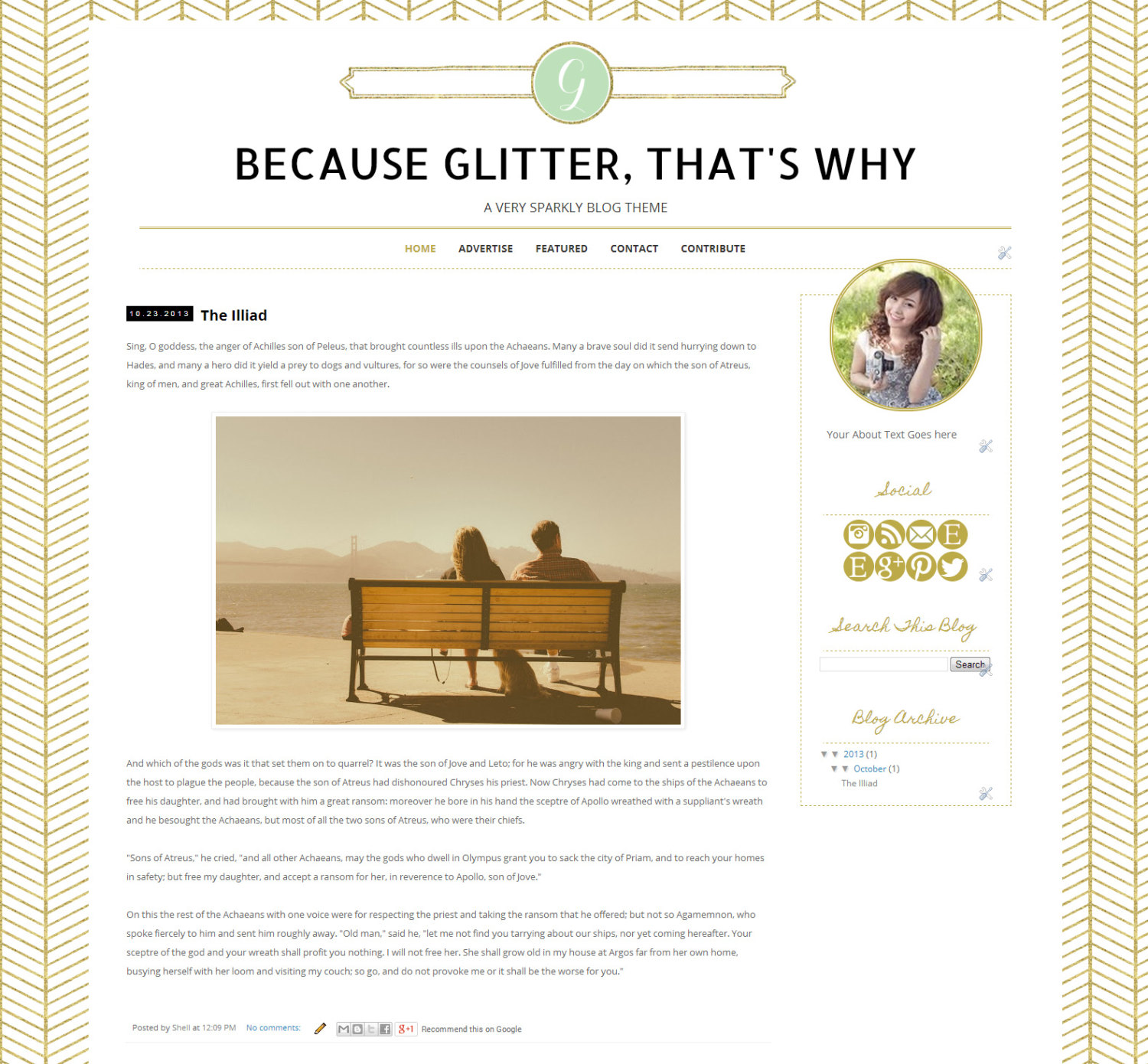 Glitter Blogger Template - Gold Chevron Blogger Blog Theme - Clean ...