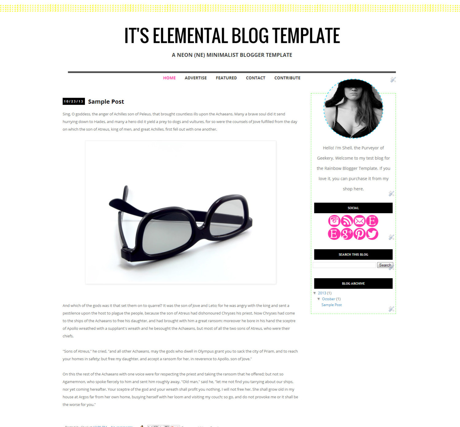 Its Elemental Blogger Template Neon Minimalist Theme Simple Clean Blog Design