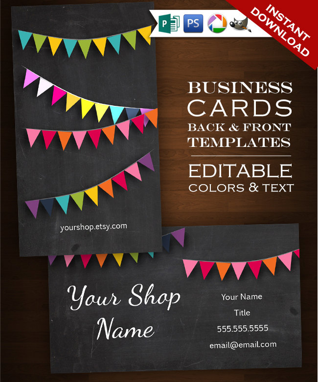 Custom business card chalkboard bunting design set 2 sided rainbow custom business card chalkboard bunting design set 2 sided rainbow chalkboard diy faire reheart Images
