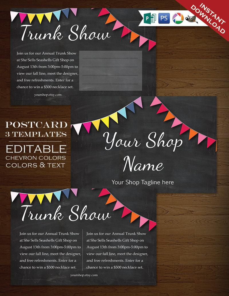 Postcard Template - Chalkboard Rainbow Bunting Flyer Clean Simple ...