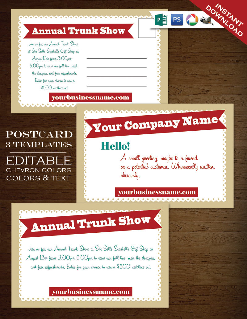 Postcard Template - Modern Charms Whimscal Flyer Clean Simple - PSD ...