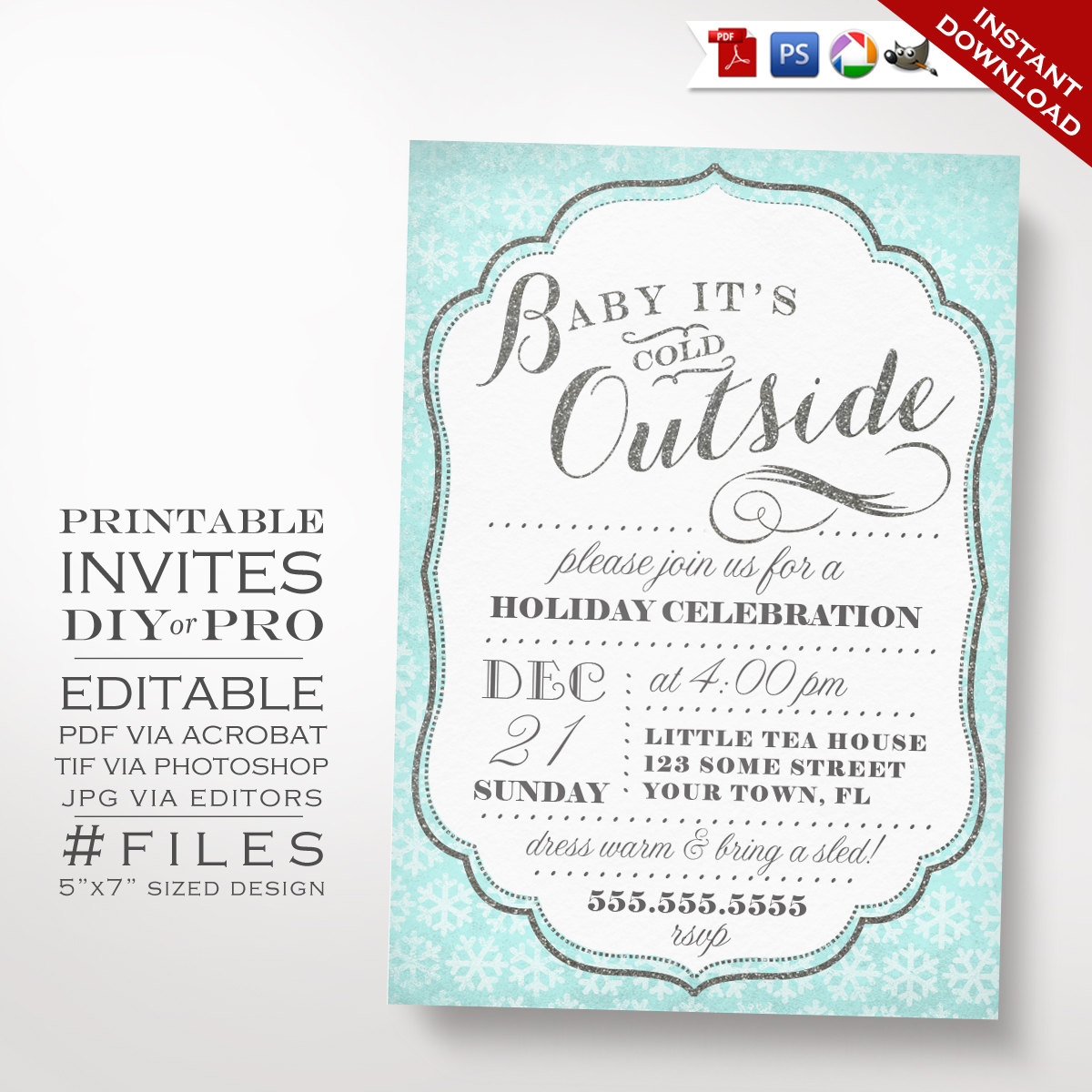 Printable DIY Christmas Party Invitation Winter Holiday Party
