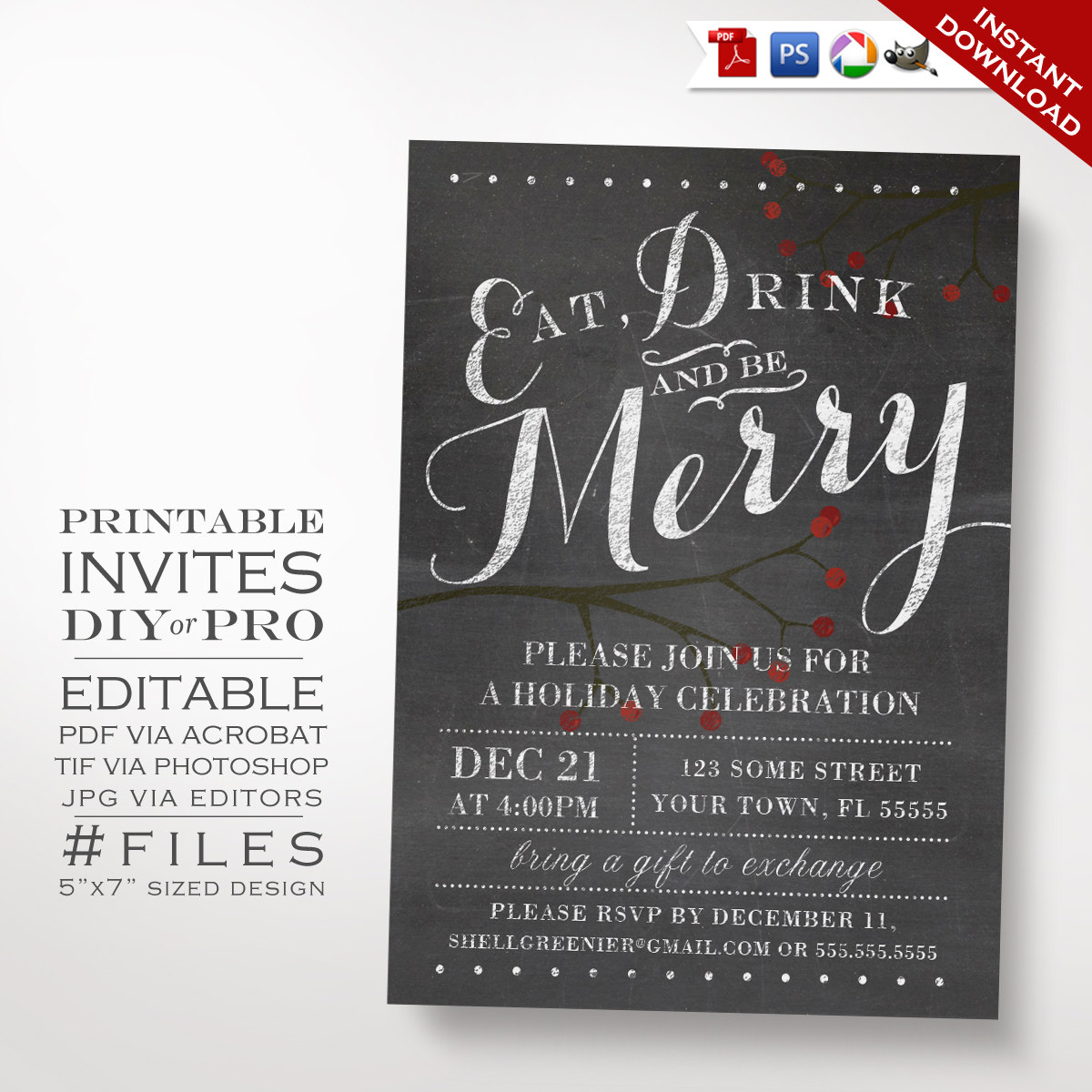 Printable diy christmas party invitation template winter template winter chalkboard holiday party invitation previous next stopboris