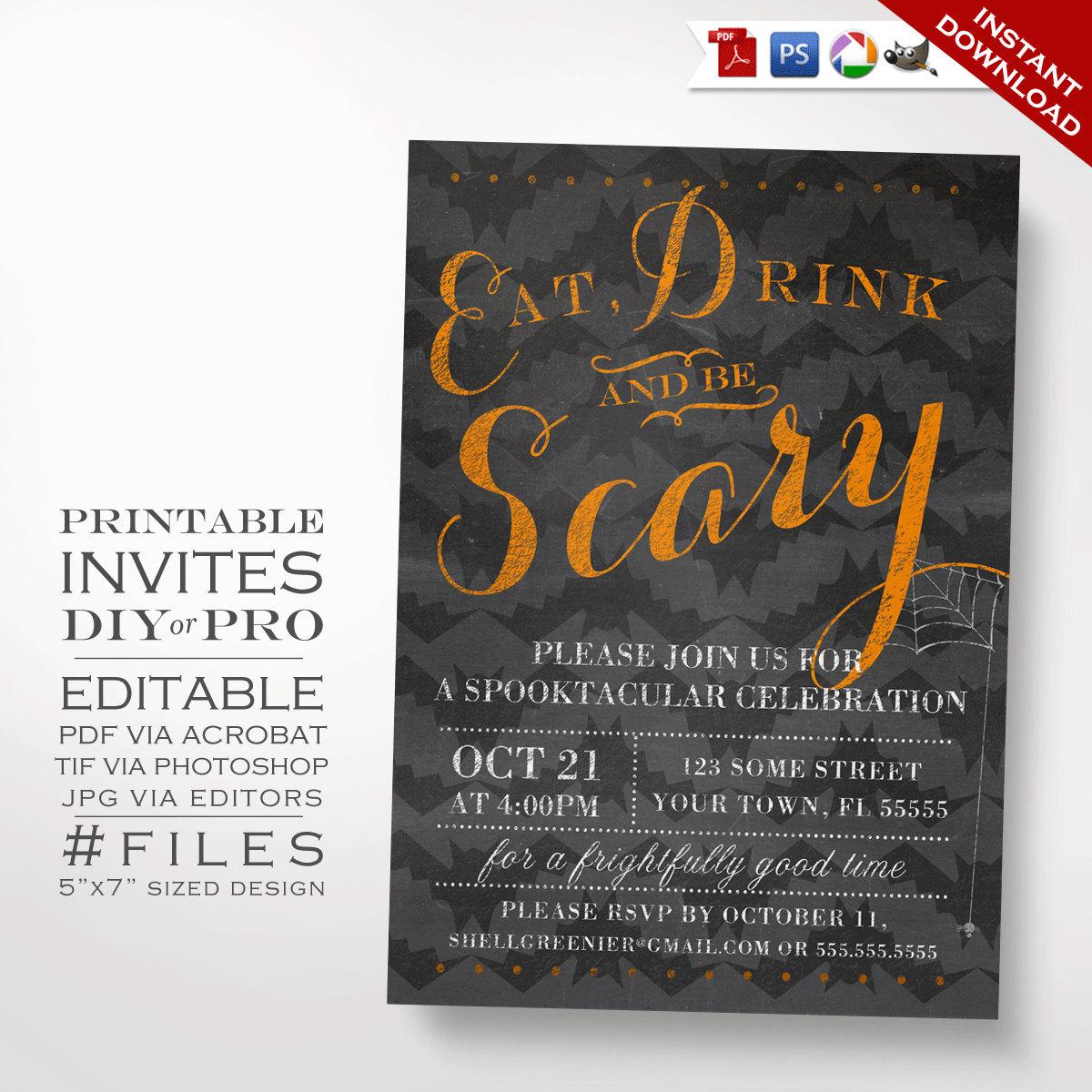 Printable DIY Halloween Party Invitation - Halloween Chalkboard ...