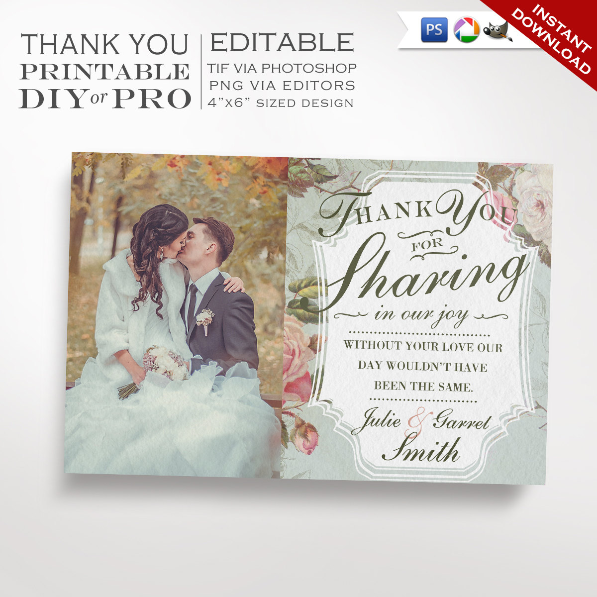 printable diy french country wedding thank you template vintage rose wedding photo thank you. Black Bedroom Furniture Sets. Home Design Ideas