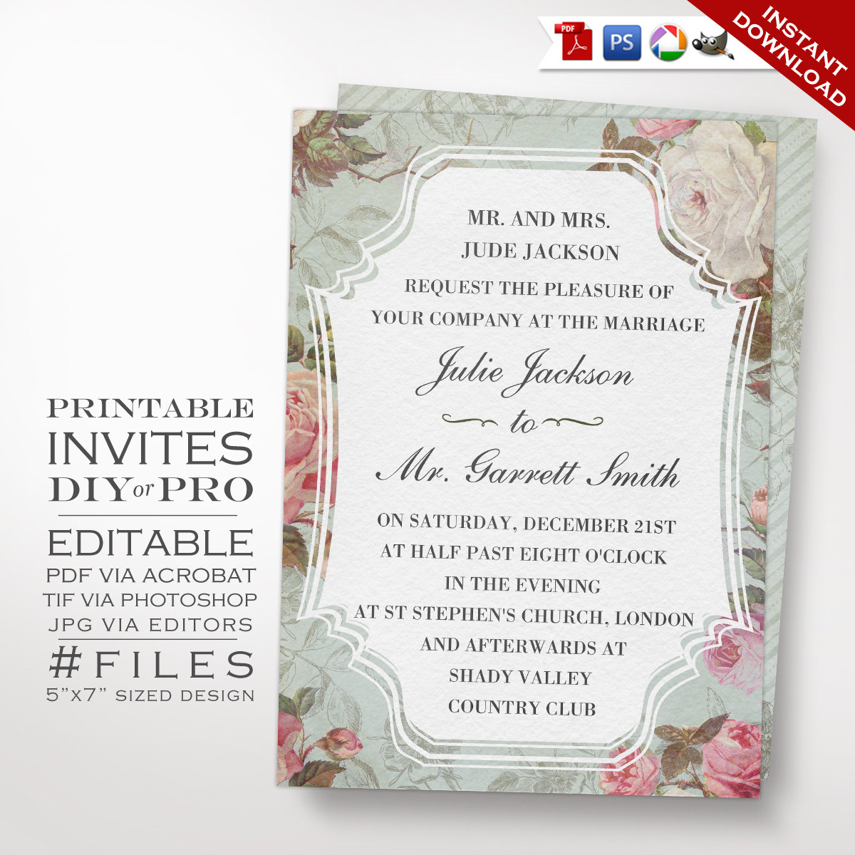 Printable DIY French Country Vintage Rose Wedding Invitation Template