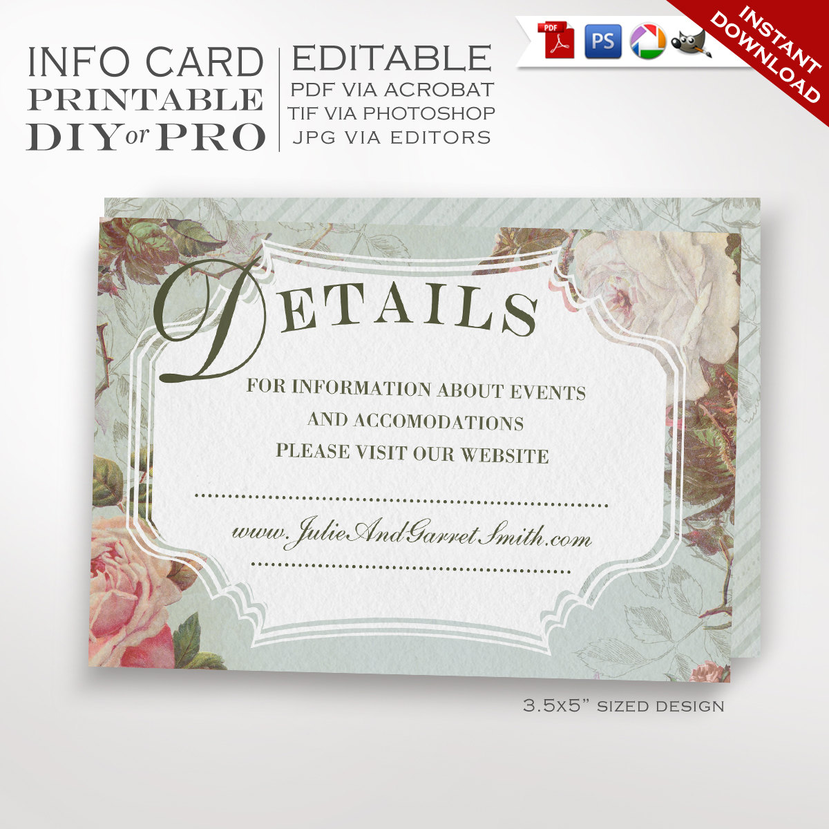 Printable DIY French Country Wedding Website Card Template - Vintage ...