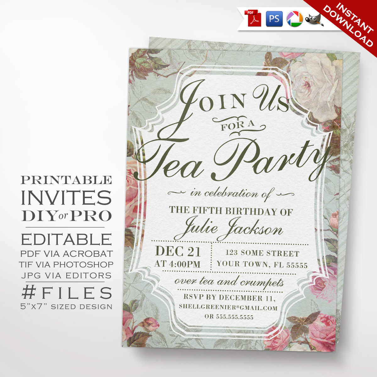 diy vintage rose tea party theme birthday invitation printable